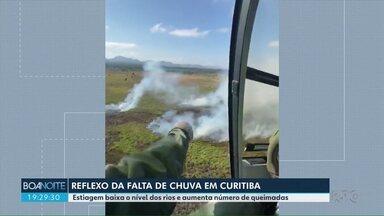 Incêndio atinge área perto da Represa do Iraí, em Curitiba - Estiagem baixa o nível dos rios e aumenta o número de queimadas.