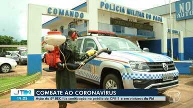 Prédio do CPR-1 e viaturas da PM passam por sanitização em Santarém - Procedimento foi feito por militares do 8ºBEC.