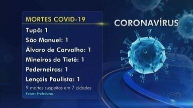 Casos confirmados de coronavírus nas regiões de Bauru e Marília neste sábado, 25 de abril - As prefeituras das cidades do centro-oeste paulista registraram novos casos de coronavírus neste sábado (25) e a região soma 306 confirmações em 39 cidades. A região também contabiliza 25 mortes em 13 cidades.