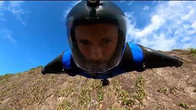 Desafio dos aros: Brasileiro campeão de wingsuit tenta feito inédito nas alturas - Desafio dos aros: Brasileiro campeão de wingsuit tenta feito inédito nas alturas