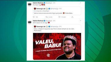 Após ser eliminado do BBB, Babu ouve novidade de Gabigol e recebe convite do Flamengo - Após ser eliminado do BBB, Babu ouve novidade de Gabigol e recebe convite do Flamengo