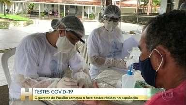 Na Paraíba, governo começa a fazer testes rápidos da Covid-19 em pessoas com sintomas - O governo da Paraíba comprou 310 mil testes rápidos e preparou um esquema que cobre todo o estado. Inicialmente os testes são feitos em 36 cidades, que podem receber pacientes de municípios vizinhos também.