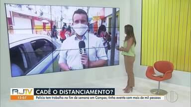 Em Campos, RJ, polícia acaba com eventos que desrespeitam decreto de distanciamento social - Um dos eventos contava com mais de mil pessoas.