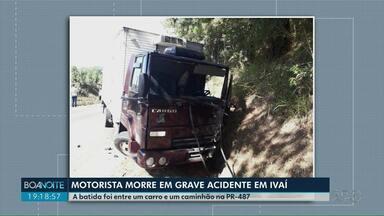 Motorista morre em acidente em Ivaí - A batida foi entre um carro e um caminhão na PR-487.