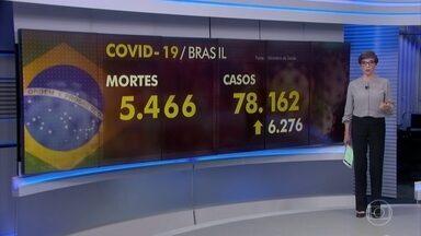 Brasil tem 5.466 mortes por coronavírus e mais de 78 mil infectados - País manteve o nível de mais de 400 mortes diárias por Covid-19. Só nesta quarta (29) foram 449.