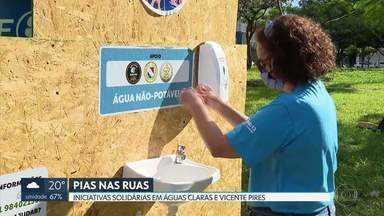 Pias são instaladas nas ruas para higienização - As iniciativas são do grupo de escoteiros Ave Branca, de Águas Claras, e do seu Lélio, morador da Colônia Agrícola Samambaia, em Vicente Pires.