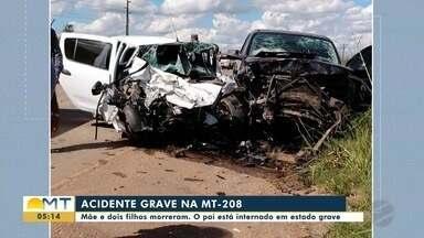 Mãe e dois filhos morrem em acidente na MT-208 - Mãe e dois filhos morrem em acidente na MT-208