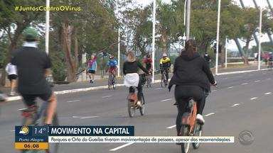 Parques e Orla do Guaíba têm movimentação de pessoas neste domingo (3) - Recomendação das autoridades é evitar aglomerações devido ao avanço do coronavírus.