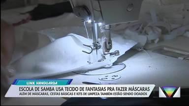 Escola de samba de Taubaté usa tecido de fantasias para fazer máscaras - Além de máscaras, cestas básicas e kits de limpeza também estão sendo doados