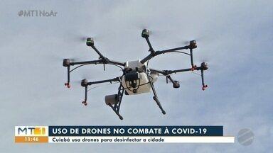 Cuiabá usa drone para ajudar na desinfecção de condomínios - Cuiabá usa drone para ajudar na desinfecção de condomínios.