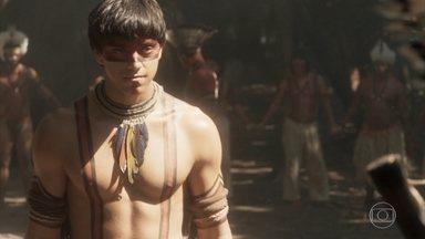Piatã passa por ritual e se torna índio - O irmão de Anna participa de cerimônia de iniciação e recebe a bênção de Tupã. Jurema fica feliz e diz a Jacira que Piatã precisa de uma esposa