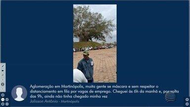 Fila de pessoas em busca de empregos não cumpre distanciamento em Martinópolis - São 32 vagas oferecidas pela empresa.
