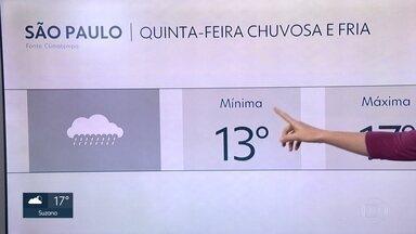 Madrugada de quinta-feira deve ser a mais fria do ano na capital - A temperatura mínima deve ser de 13 graus. E a chuva pode cair ao longo do dia