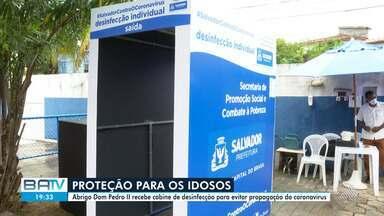 Abrigo de idosos em Itapuã recebe cabine de desinfecção para evitar propagação do Covid-19 - O Abrigo Dom Pedro II conta atualmente com 59 moradores.