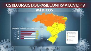 Site do IBGE mostra o número de médicos, enfermeiros, leitos e respiradores em cada estado - Amazonas, Pará, Ceará, Pernambuco, Maranhão e Rio de Janeiro já apresentam colapso no sistema público de saúde e até mesmo na rede particular. Nesses estados, mais de 90% dos leitos de UTI já estão ocupados.
