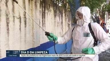 """""""Dia D da limpeza"""" higieniza mais de 800 locais na cidade - Ação da prefeitura é mais uma para ajudar no combate ao Novo Coronavírus"""