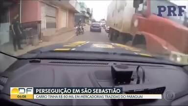 Motorista foge da PRF e é perseguido em São Sebastião - Homem trazia mercadorias contrabandeadas do Paraguai.