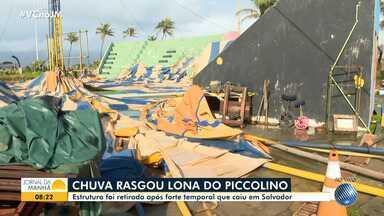 Ventania e chuva forte destroem a lona do tradicional Circo Picolino, em Salvador - A estrutura foi removida após o temporal que caiu na capital baiana.