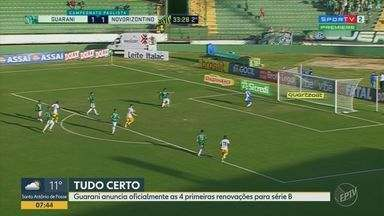 Guarani confirma renovação de Jefferson Paulino e mais três jogadores - Diretoria também espera resposta de empresário para assegurar permanência de dupla.