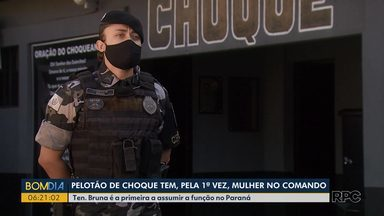 Pelotão de Choque tem, pela primeira vez, uma mulher no comando - Tenente Bruna é a primeira a assumir a função no Paraná