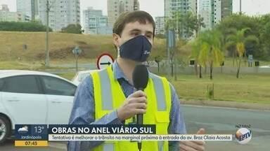 Diminuição do fluxo de veículos deve facilitar obras no Anel Viário Sul em Ribeirão Preto - Adequações acontecem perto da entrada da Avenida Braz Olaia Costa.