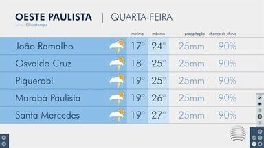 Quarta-feira começa chuvosa no Oeste Paulista - Confira a previsão do tempo para a região.