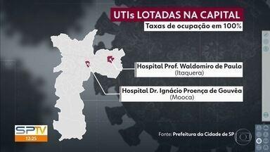 UTIs de dois hospitais municipais estão com 100% da capacidade - Dois hospitais municipais da capital estão com as UTIs lotadas e sem condições de receber novos pacientes da Covid-19. . Esse número de ocupação é muito dinâmico, muda no decorrer do dia.