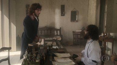 Joaquim chama Peter para atender o filho de Leopoldina - Peter parabeniza o amigo por ter ajudado a fazer o parto de Anna e se prepara para ir ao palácio ver o menino João Carlos