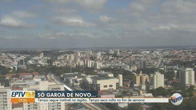 Previsão do tempo mostra instabilidade com garoa na região de Campinas - O tempo seco deve voltar no final de semana. A temperatura mínima em Campinas é de 14°C nesta sexta-feira (15).