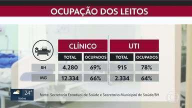 Veja a situação de leitos em BH e no estado - Taxa de ocupação de leitos de UTI subiu na capital.
