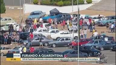 Coronavírus: Guarda de Paulínia dispersa aglomeração durante exposição de carros antigos - Evento aconteceu neste domingo (17) em frente ao Theatro Municipal. Guarda informou que organizador do evento ia realizar um sorteio com participantes em seus carros.