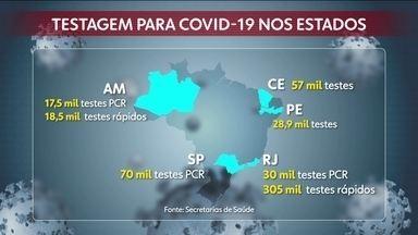 Números de testes realizados no país para detectar o coronavírus é insuficiente - Veja quantos testes foram realizados nos cinco estados com mais casos do coronavírus no Brasil.