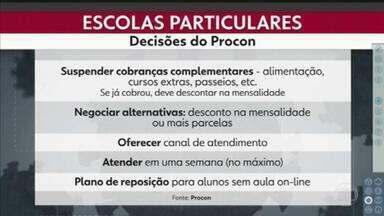 Sindicato dos colégios particulares de São Paulo diz que 20% pais não conseguiram pagar a mensalidade de abril - Muitos desses pais perderam o emprego ou sofreram redução nos salários durante a quarentena. Vamos relembrar, então, as decisões que o Procon tomou depois de se reunir com os representantes dos colégios.