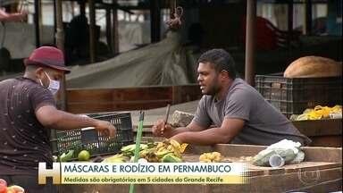 Máscaras e rodízio obrigatório no Recife e mais quatro cidades da região metropolitana - Isolamento no estado aumentou, mas ainda precisa crescer mais.