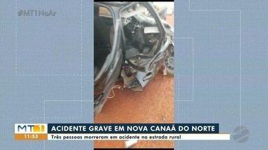 Três pessoas morreram num acidente em Nova Canaã do Norte - Três pessoas morreram num acidente em Nova Canaã do Norte.