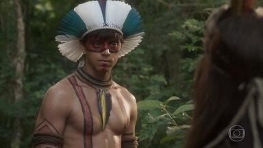 Piatã vai com Jacira até a gruta de Ferdinando - O índio decide esperar até a volta do botânico para conhecê-lo