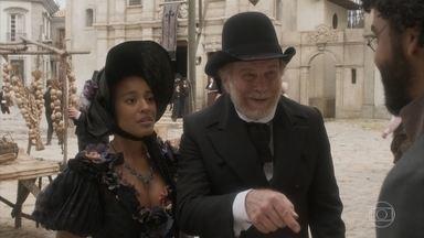 Diara aceita escrever um artigo para o jornal - A ex-escrava se incomoda ao ver Sebastião e Mathias na rua