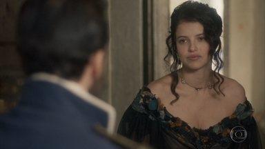 Domitila afirma que pretende ser a única mulher de Dom Pedro - Ela conta a Francisco que seguirá as orientações de Thomas para não ser apenas mais uma das amantes do príncipe. Licurgo sofre fazendo todo o serviço da taberna para agradar Germana