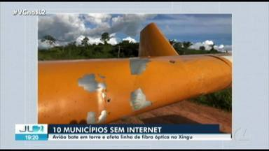 Avião agrícola bate em linha de transmissão e deixa 10 cidades sem internet no Pará - Avião agrícola bate em linha de transmissão e deixa 10 cidades sem internet no Pará