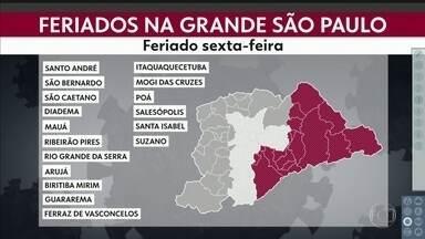 Feriados antecipados na capital e região metropolitana - Apenas 4 cidades uniram dois feriados na quarta e quinta-feiras como São Paulo.