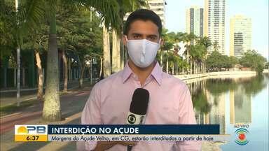 Margens do Açude Velho estão interditadas para caminhadas, em Campina Grande - Confira os detalhes com o repórter Marques de Souza.