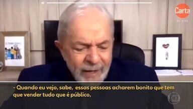 """'Monstro' do coronavírus veio para demonstrar necessidade do Estado, diz Lula - O ex-presidente Luiz Inácio Lula da Silva afirmou nesta terça-feira (19) que """"ainda bem"""" que o """"monstro"""" do coronavírus surgiu, demonstrando a necessidade da presença do Estado."""