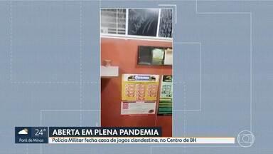 Polícia Militar fecha casa de jogos clandestina, no Centro de BH - Local estava aberto mesmo com decreto que permite funcionamento apenas das atividades consideradas essenciais.