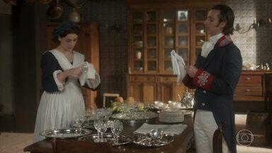 Patrício reclama do jantar para José Bonifácio - O mordomo real se irrita com o evento e não poupa críticas a Leopoldina