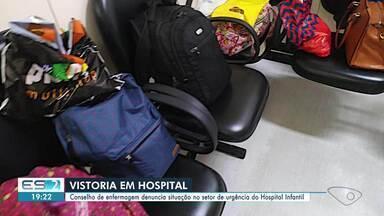 Conselho de enfermagem denuncia situação no setor de urgência do Hospital Infantil do ES - Conselho fez vistoria e constatou uma série de irregularidades.
