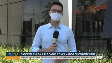 Cascavel tem quase 200 casos confirmados de coronavírus - Setor da agroindústria é o segundo que mais tem trabalhadores com a doença na cidade.