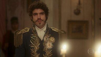 Dom Pedro se enfurece com a recusa de José Bonifácio - Leopoldina sente uma forte dor na barriga e todos se preocupam. Dom Pedro vai embora ofendido