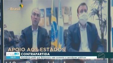 Governador pede que presidente sancione projeto de ajuda financeira - Em entrevista, Reinaldo Azambuja ainda pediu que Bolsonaro vete aumento a servidores públicos. O presidente afirmou que vai atender a pedidos feitos por governadores.