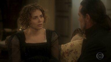 Leopoldina comemora o entendimento entre José Bonifácio e Pedro - Bonifácio conta que o príncipe saiu correndo após a conversa deles e Leopoldina faz uma confidência sobre as traições do marido