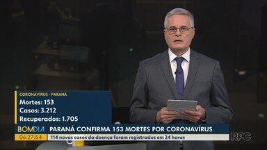 Paraná confirma 153 mortes por coronavírus - 114 novos casos da doença foram registrados em 24 horas.